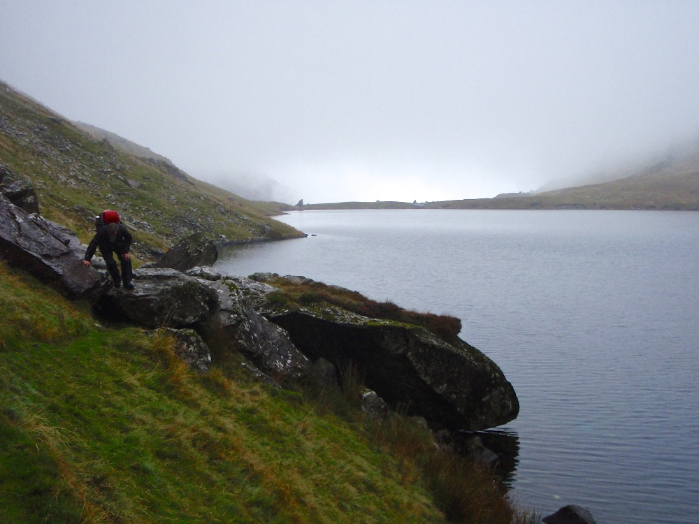 Cloud base down on Llyn Cau