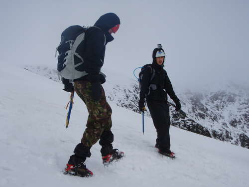 Axes and crampons required